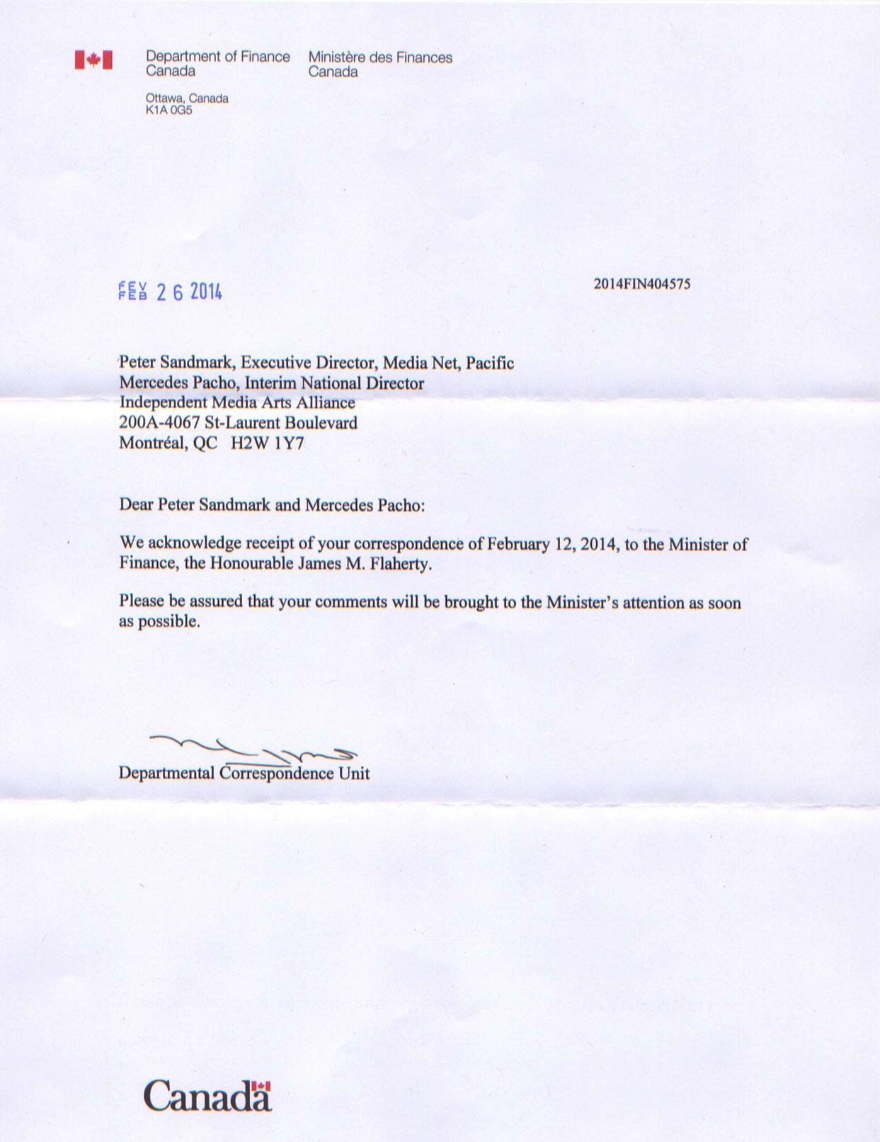+ Réponse de l'honorable Jim Flaherty, Ministre des Finances (v.a) (mars 2014)