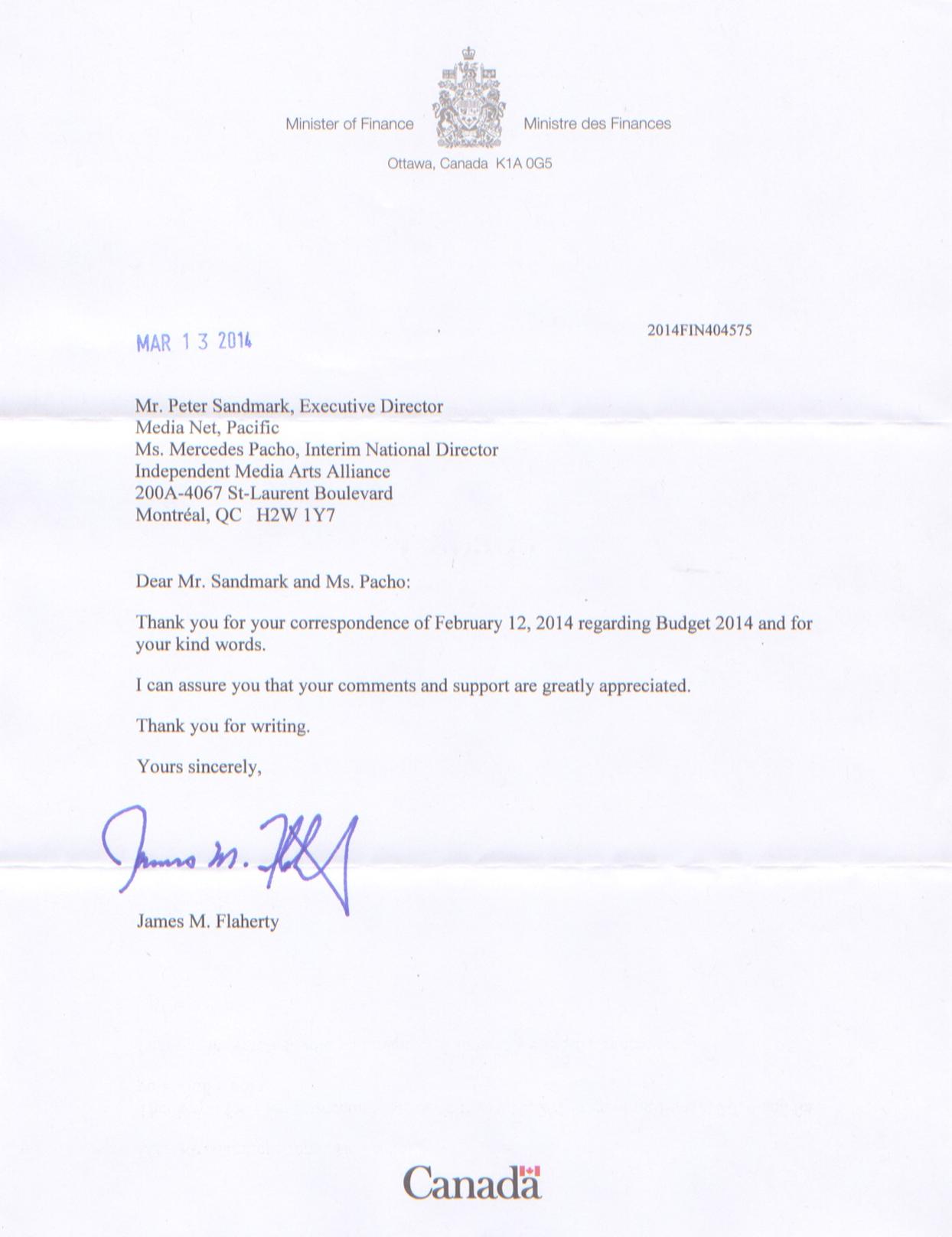 + Réponse de l'honorable Jim Flaherty, Ministre des Finances.